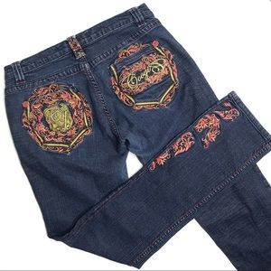Coogi Colorfully Embroidered Straight Leg Jeans